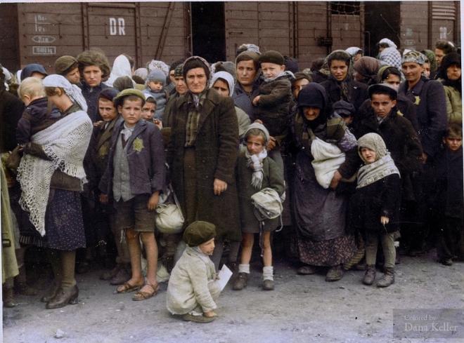 Jewish women and children at Auschwitz, circa 1944, Danakeller.com